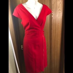 Calvin Klein Red Dress with gold trim size 10